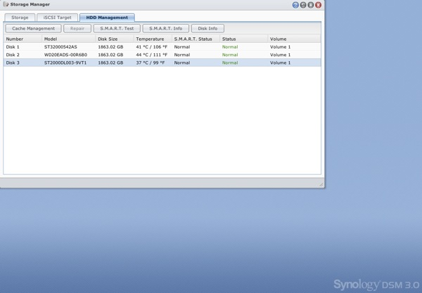 Synology 1511+ HDD Mgt