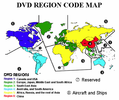DVD Region Code Map