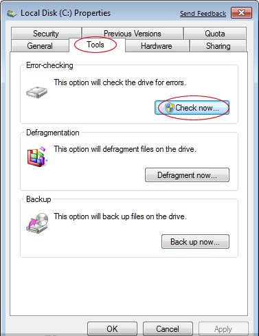 Windows 7 - Chkdsk