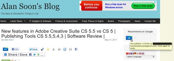 20110606  Google +1  blog +1