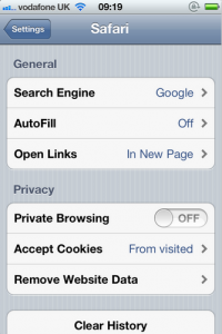 iOS5 Private Browsing