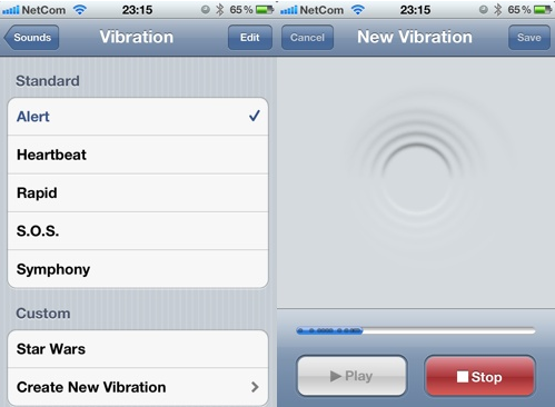 iOS5 custom vibration