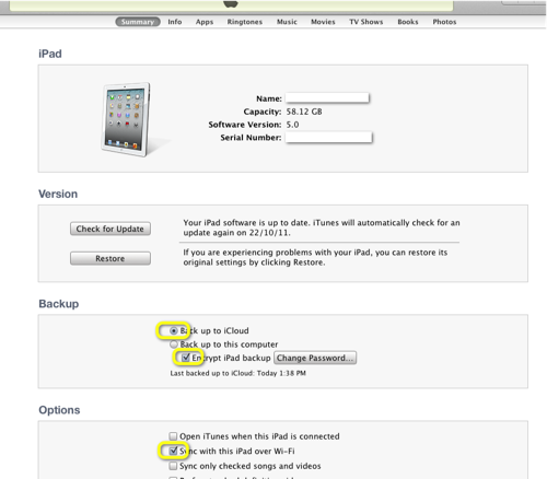 iTunes-iCloud Backup-Setup