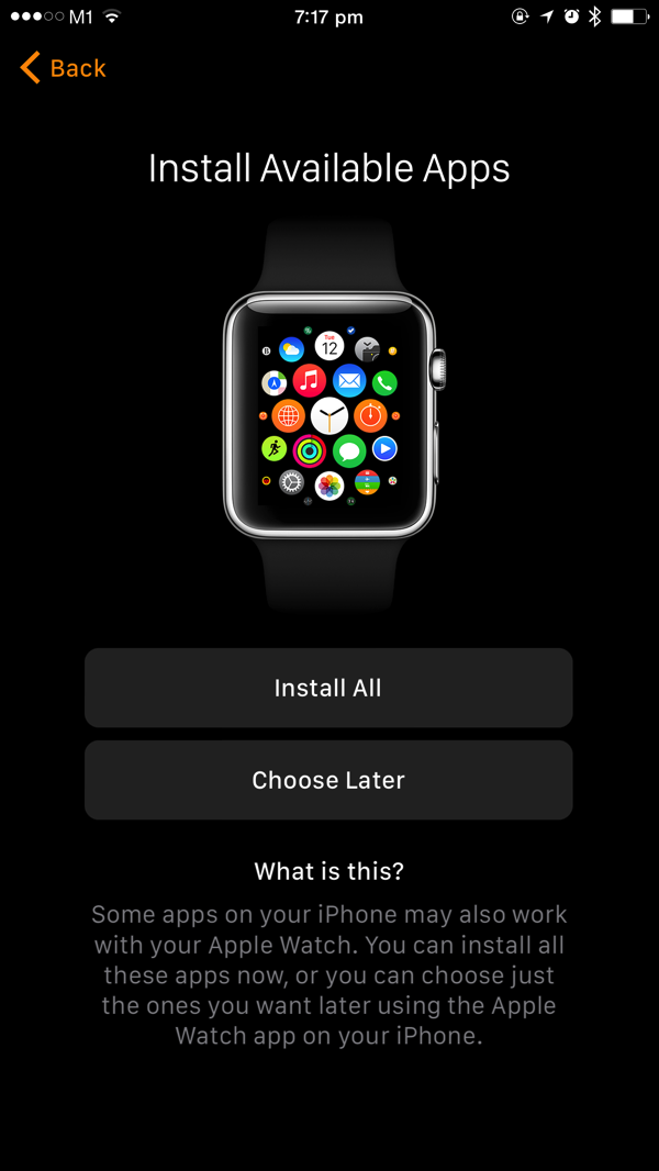 Apple Watch - first time pairing - auto install Apple Watch apps