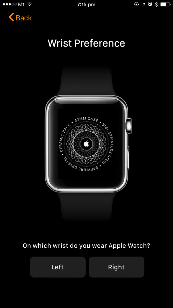 Apple Watch - first time pairing - set watch wrist preference