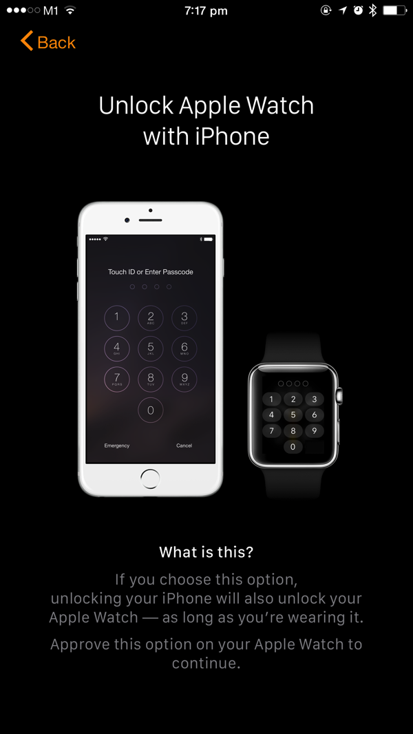 Apple Watch - first time pairing - sync unlock with iPhone