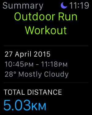 Apple Watch - test workouts - outdoor run - 1
