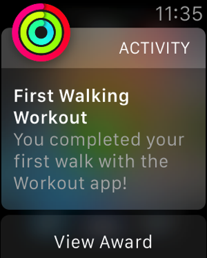 Apple Watch - test workouts - outdoor walk - completion