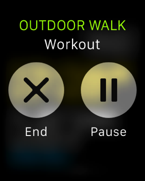 Apple Watch - test workouts - outdoor walk - pause or end workout