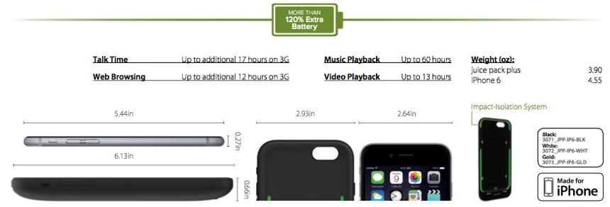 Mophie Juice Pack Plus - specifications
