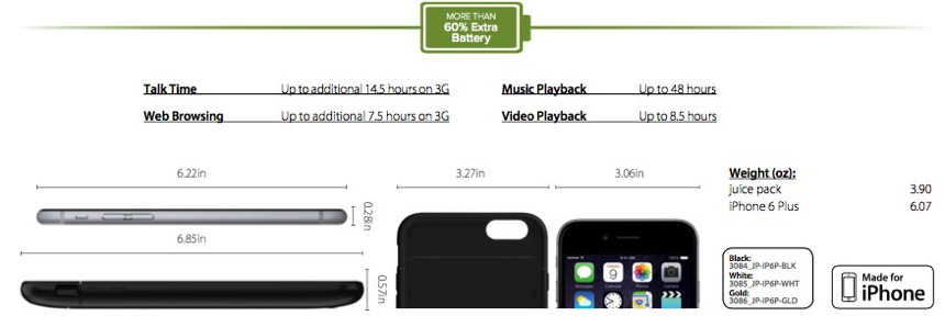 Mophie Juice Pack for iPhone 6P - specifications