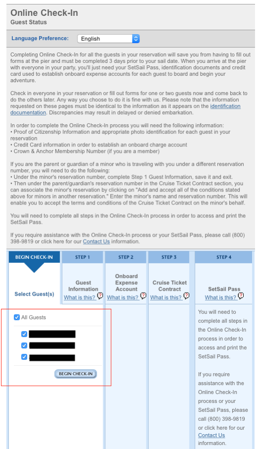 1. Quantum of the Seas - Online Check In - Begin