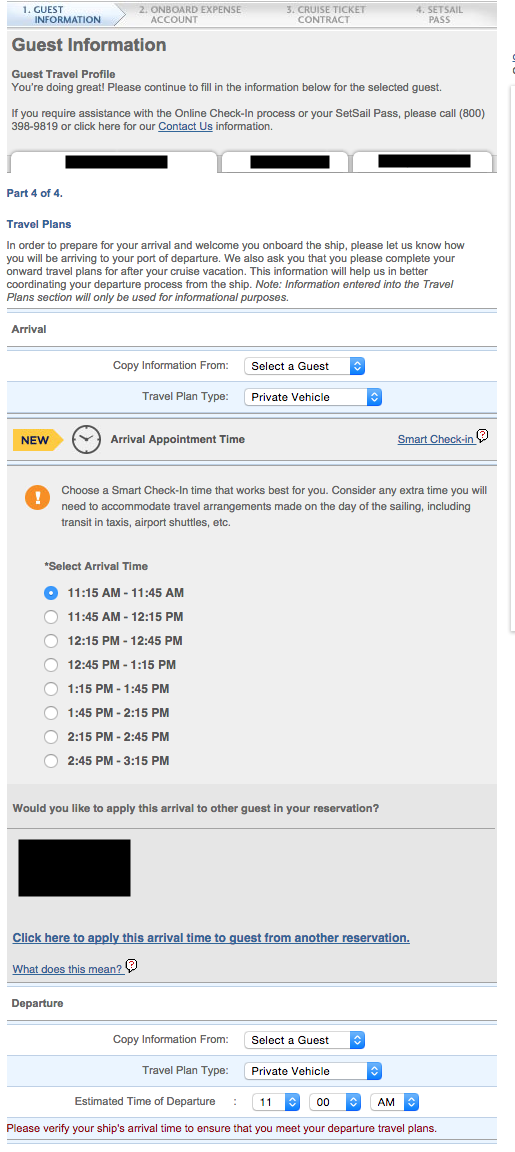 1. Quantum of the Seas - Online Check In - Step 4 Guest Info