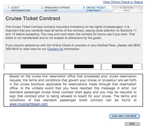 1. Quantum of the Seas - Online Check In - Step 6 Contract Terms Conditions