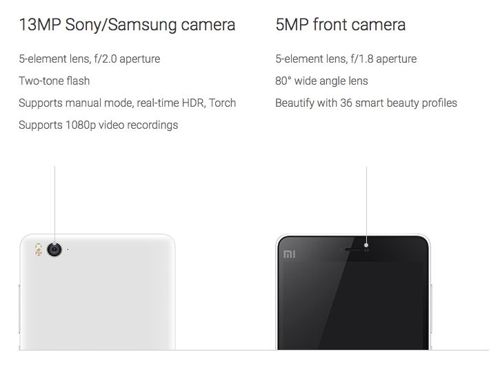 Mi4i camera specifications