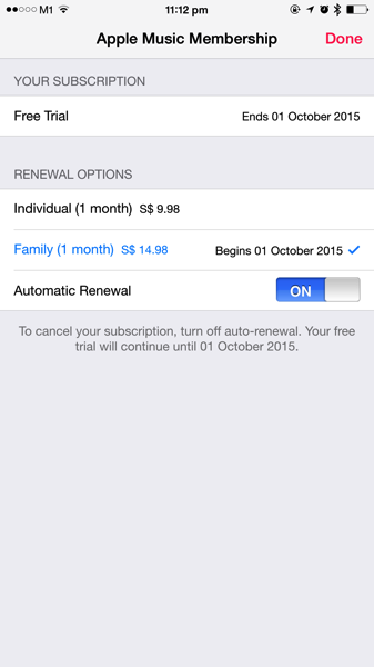 Apple Music - turn off subscription auto renewal