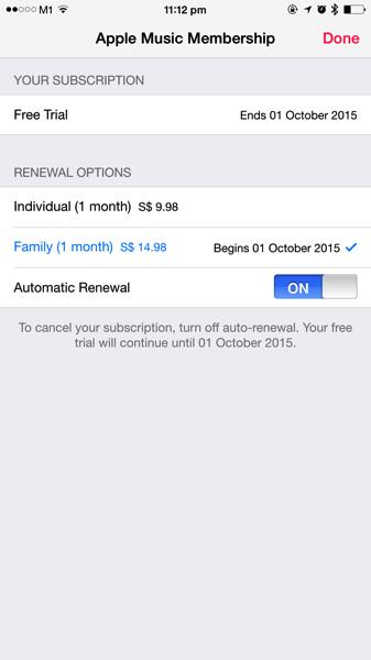 Apple Music - turn off subscription auto renewal