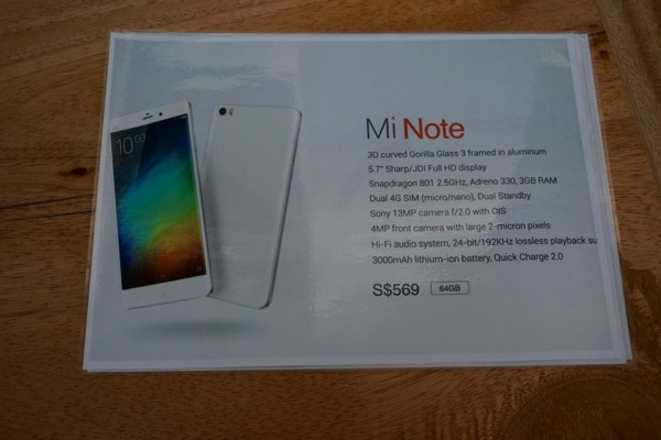 MiNote launch experiential event 2015 - Overview of Mi Note Specifications