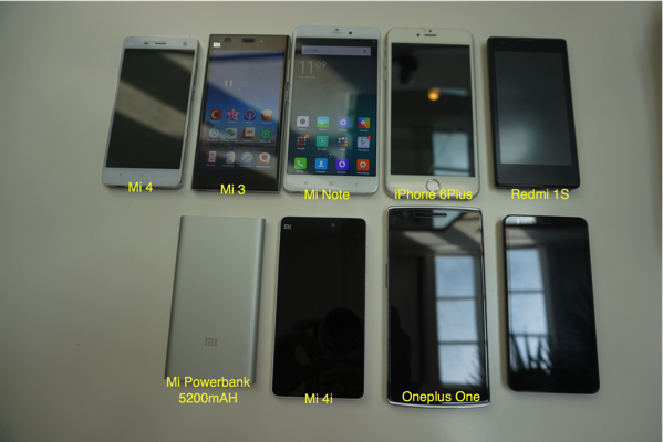 MiNote launch experiential event 2015 - screen comparisons  with various smartphones