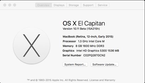 OS X El Capitan - System Info