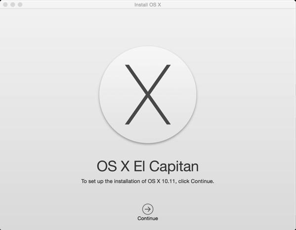 OS X El Capitan - start installation