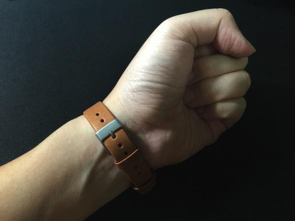 Mi Band Leather Strap - on wrist (underside)