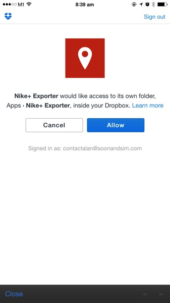 Nike+ Data Downloader - Dropbox Authorisation