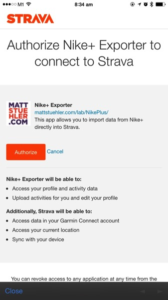 Nike+ Data Downloader - Strava Authorisation