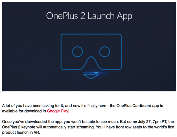 OnePlus Two - VR launch app