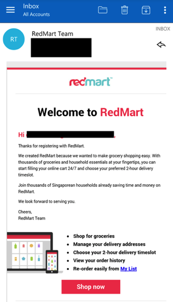 Redmart - Email verification
