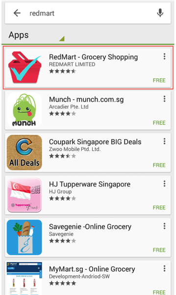 Redmart Online Grocer - Download Android App