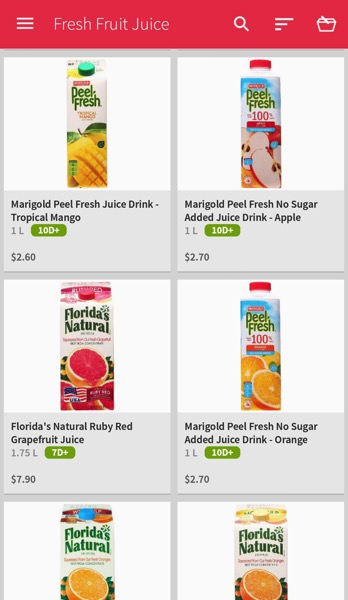 Redmart Online Grocer - Fresh Juices