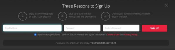 Redmart Online Grocer - New User Registration