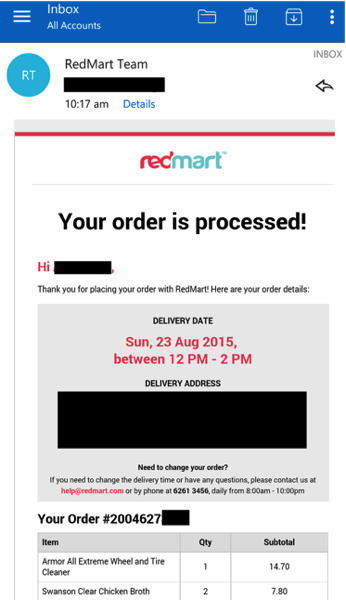 Redmart - Order confirmation email