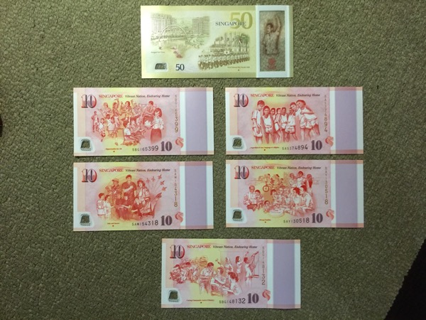 SG50 Commemorative Notes - $50 and $10 (all back)