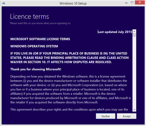 Upgrade to WIndows 10 - License Terms