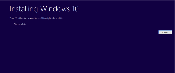 Upgrade to Windows 10 - In progress