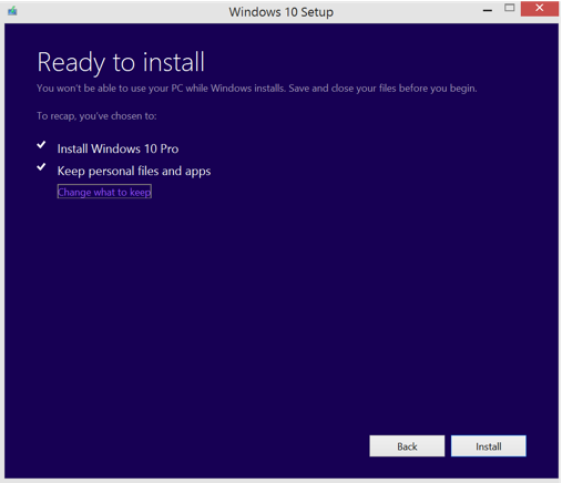 Upgrade to Windows 10 - Preparing