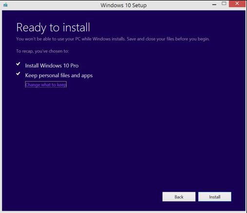 Upgrade to Windows 10 - Preparing