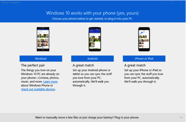 Windows 10 New Features - Phone Companion App