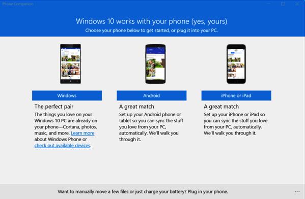 Windows 10 New Features - Phone Companion App