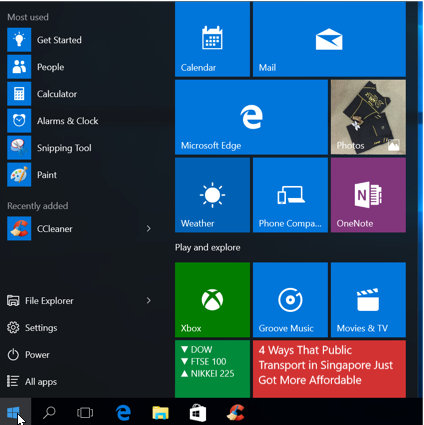 Windows 10 New Features - Start Menu.