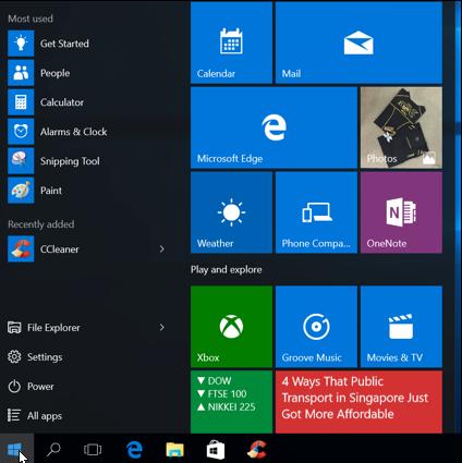 Windows 10 New Features - Start Menu.