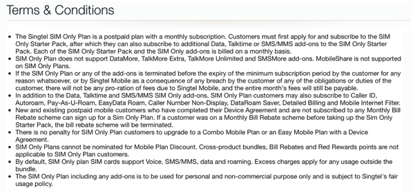 SingTel SIM only plan - terms and conditions