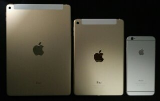 iPad Mini 4 vs iPad Air 2 vs iPhone 6 Plus - back size comparison