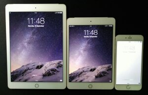 iPad Mini 4 vs iPad Air 2 vs iPhone 6 Plus - front screen size