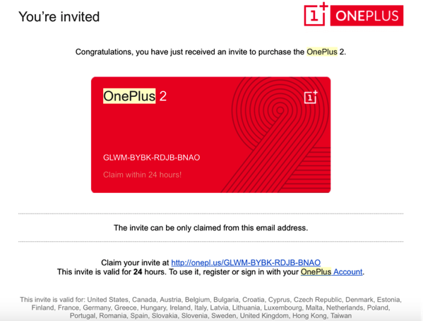 OnePlus Two - Global Invite