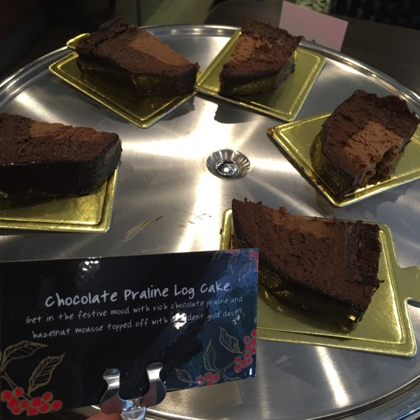 Starbucks Cheer Party - Christmas food - Chocolate Praline Log Cake
