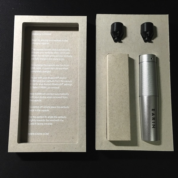 Earin earphones - Packaging unboxed