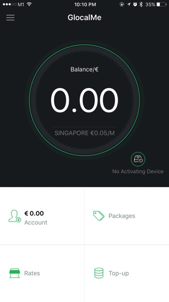 GLocalMe G2 - realtime data usage monitoring